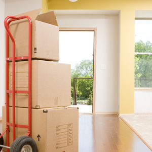 Boxes stacked on cart in empty condo